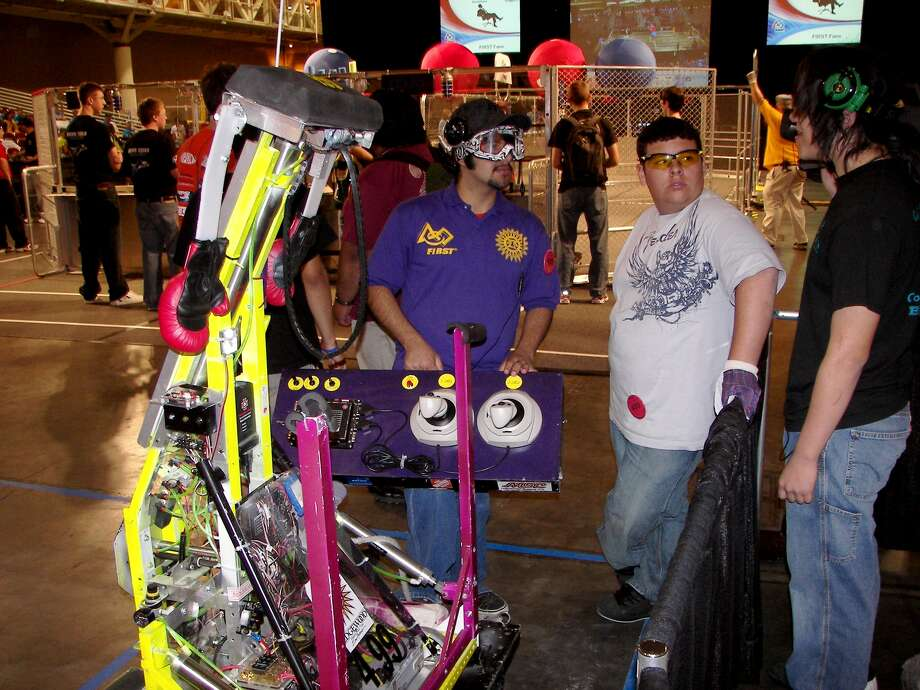 The drive team for the Toltechs robot, built by a San Antonio Edgewood Independent School District team, waits for its match in a FIRST competition held in 2008 in New Orleans. That team won the engineering inspiration award. Photo: COURTESY PHOTO