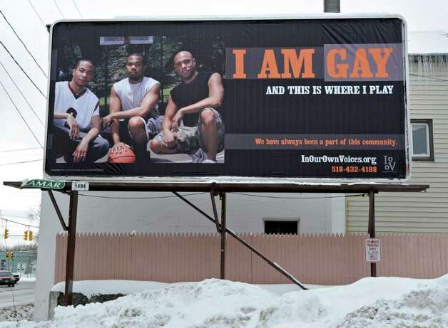 A billboard near the intersection of Albany Street and Brandywine Avenue in Schenectady is one of a number of signs in an awareness campaign that has upset some in the community. (Lori Van Buren / Times Union) Photo: Lori Van Buren