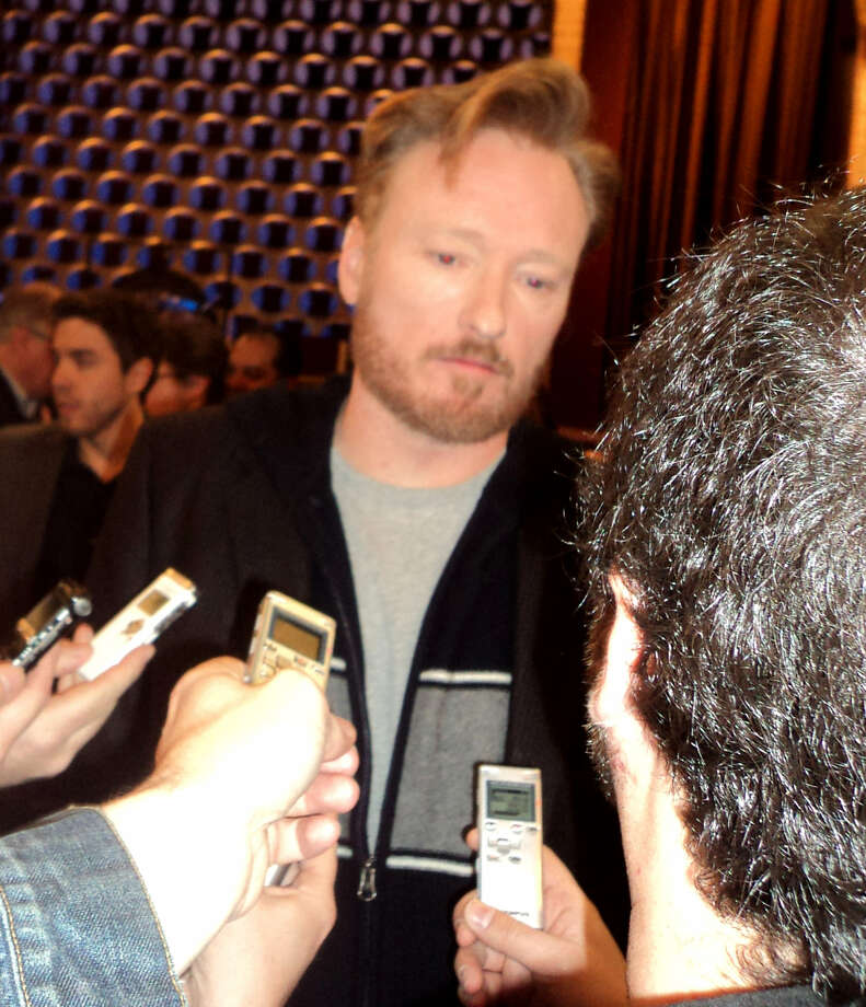 Conan O'Brien says his set, smaller than George Lopez's, works for his type of show. JEANNE JAKLE / EXPRESS-NEWS
