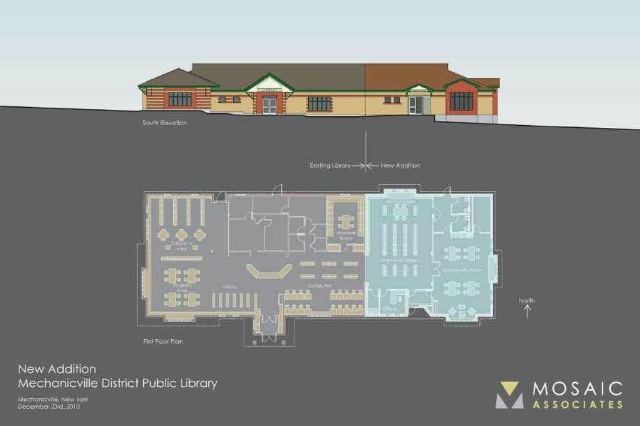 A rendering of the proposed 3,000-square-foot expansion of the Mechanicville library on North Main Street. A community vote on the project is scheduled for Feb. 15. (Provided)