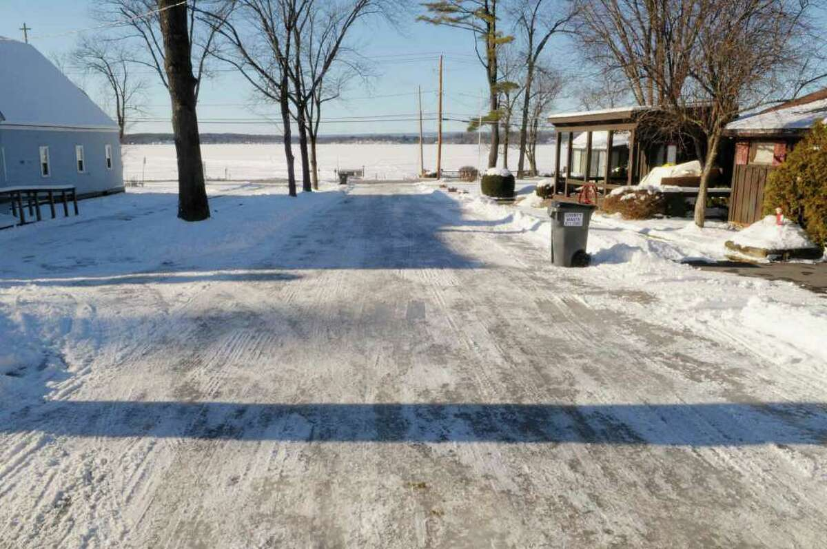 A view of Jib Drive in Stillwater, N.Y., on Monday, Jan. 10, 2011. The road is ice covered in the photo. (Paul Buckowski / Times Union)