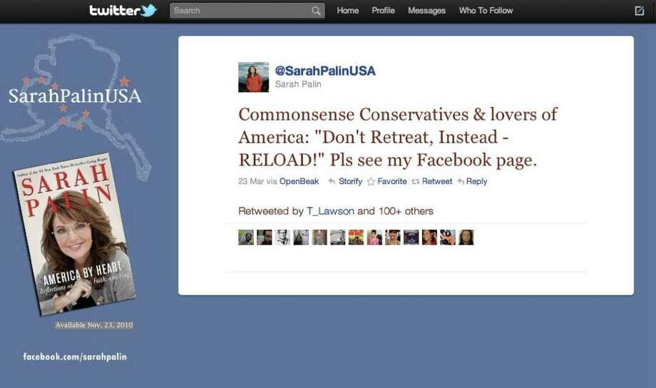 Screengrab from Sarah Palin's Twitter account that referred to the cross hair map on her Facebook page.