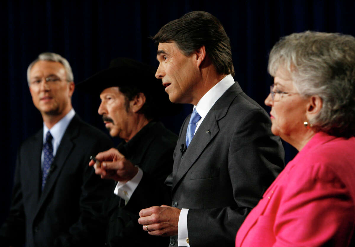 """Carole Keeton Strayhorn told Gov. Rick Perry in 2006 when she, Chris Bell (left) and Kinky Friedman were running against him that he was writing Texas' """"largest hot check"""" ever."""