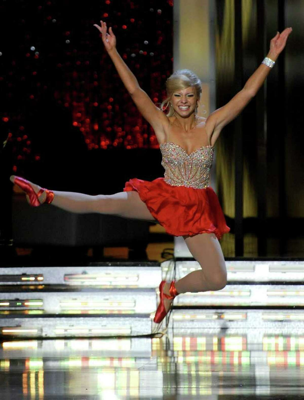 LAS VEGAS, NV - JANUARY 15: Kayla Martell, Miss Delaware, dances in the talent competition during the 2011 Miss America Pageant at the Planet Hollywood Resort & Casino January 15, 2011 in Las Vegas, Nevada. (Photo by Ethan Miller/Getty Images) *** Local Caption *** Kayla Martell