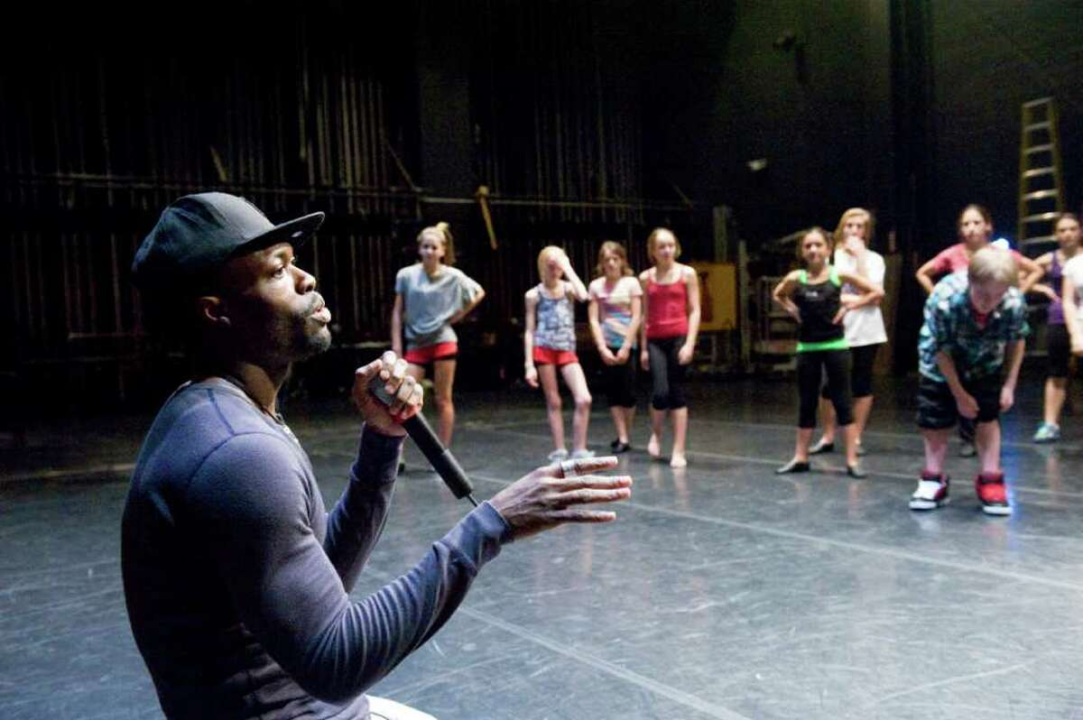 Jermaine Browne leads a DanceFest 2011 master class in hip hop at the Palace Theater in Stamford, Conn., Sunday, January 16, 2011. The Connecticut Commission on Culture and Tourism sponsors the event which allows dance students to hone key dance techniques taught by master dance teachers like Browne.