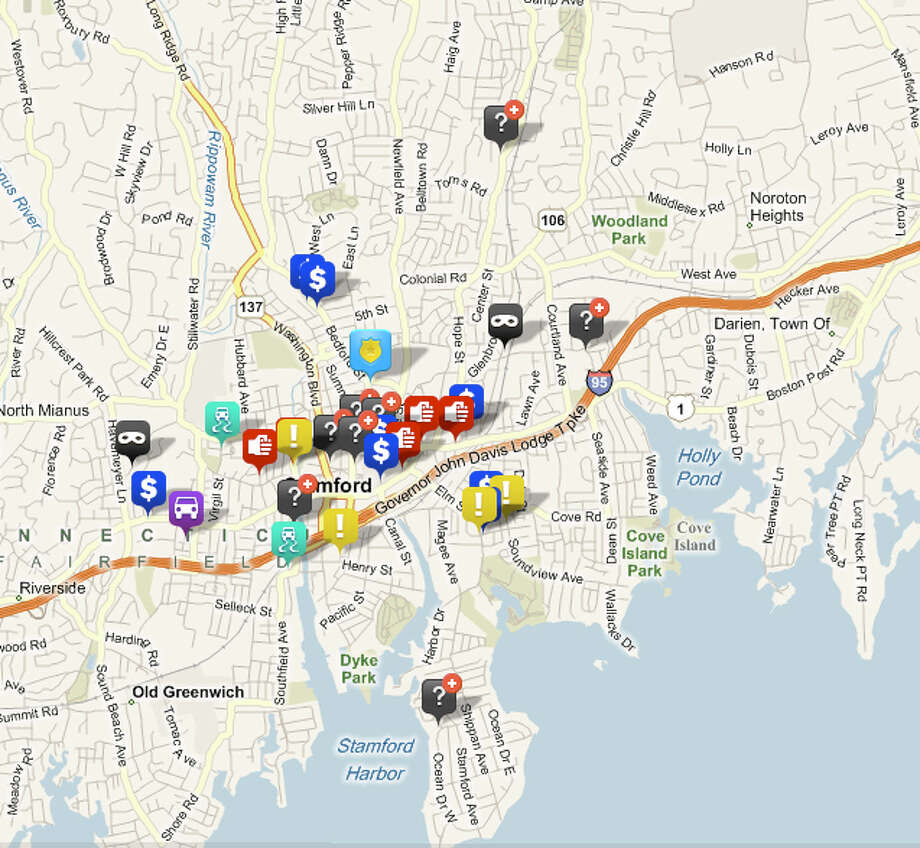 A screen capture of a map from crimemapping.com that plots the locations of police reports over a one-week period. Photo: Contributed Photo / Stamford Advocate Contributed
