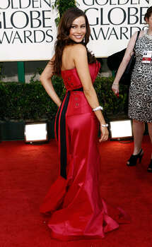 WANG NOT WONG: Funny lady Sofia Vergara was resplendent in a red Vera Wang gown with a long back black sash. But on the red carpet her thick accent lead to a moment of hilarity with Ryan Seacrest with banter that went something like this: