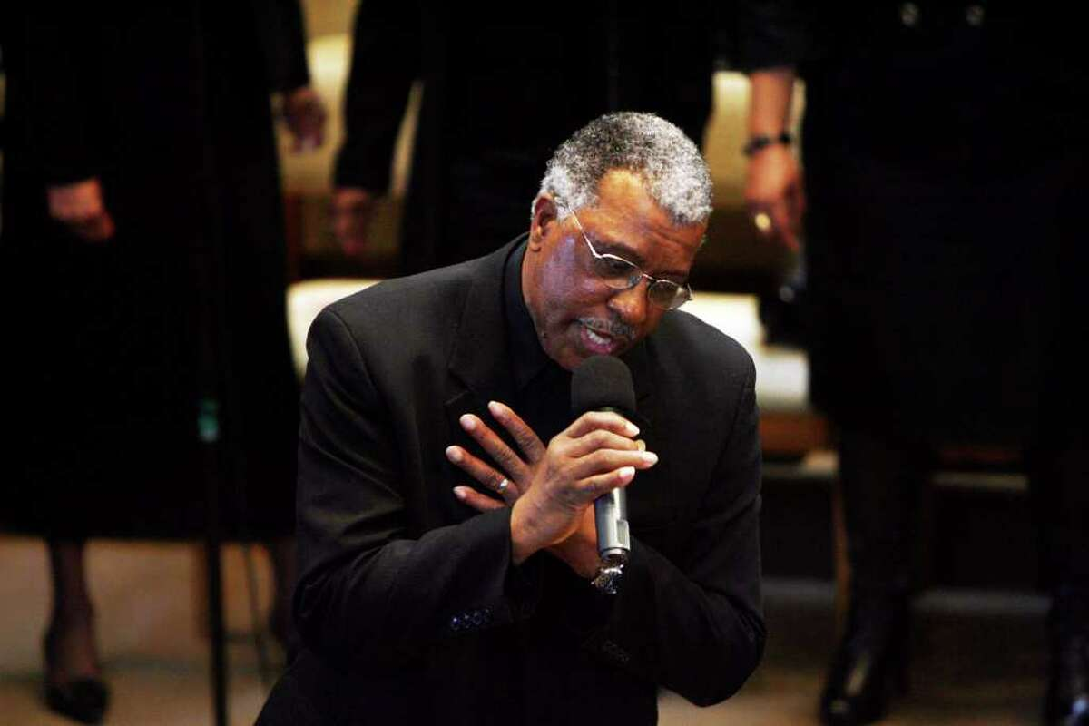 William Minor, of the East End Baptist Tabernacle Church Mass Choir, sings during the 32nd Annual Dr. Martin Luther King, Jr. celebration at Mount Avery Baptist Church in Bridgeport on Monday, Jan. 17, 2011.