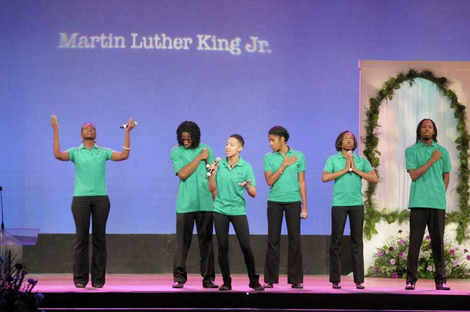 "Members of the group Too Deep Entertainment, perform the dramatic presentation ""The Dream Continues""  during the New York State Dr. Martin Luther King, Jr. Holiday Memorial Observance event at the Empire State Plaza Convention Center in Albany, NY on Monday, Jan. 17, 2011.   (Paul Buckowski / Times Union) Photo: Paul Buckowski / 10011721A"