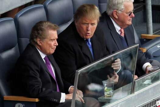 NEW YORK - APRIL 13:  Regis Philbin  (L) and Donald Trump watch as the New York Yankees play against the Los Angeles Angels of Anaheim during the Yankees home opener at Yankee Stadium on April 13, 2010 in the Bronx borough of New York City.  (Photo by Chris McGrath/Getty Images) *** Local Caption *** Regis Philbin;Donald Trump Photo: Chris McGrath, Getty Images / 2010 Getty Images