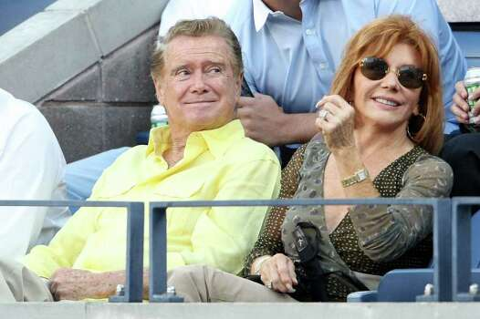 NEW YORK - SEPTEMBER 08:  Regis Philbin and Joy Philbin watch the 2008 U.S. Open Men's Championship Match between Andy Murray of the United Kingdom and Roger Federer of Switzerland in Arthur Ashe Stadium at the USTA Billie Jean King National Tennis Center on September 8, 2008 in the Flushing neighborhood of the Queens borough of New York City.  (Photo by Nick Laham/Getty Images) Photo: Nick Laham, Getty Images / 2008 Getty Images