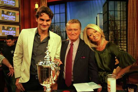 "NEW YORK - SEPTEMBER 10:  Roger Federer, 2007 US Open Champion, with hosts Regis Philbin (C) and Kelly Ripa during ""Live with Regis and Kelly"" on September 10, 2007 in New York City.  (Photo by Chris Trotman/Getty Images For ATP) *** Local Caption *** Roger Federer;Regis Philbin;Kelly Ripa Photo: Chris Trotman, Getty Images For ATP / 2007 Getty Images"