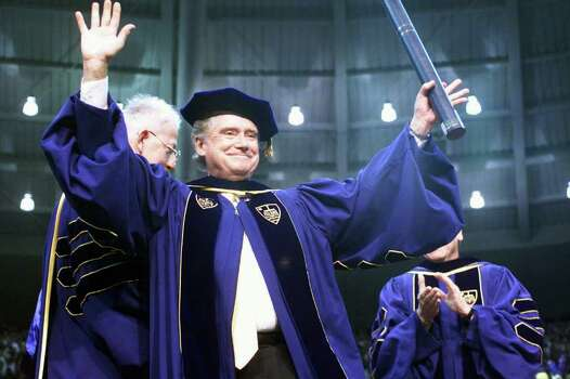 Regis Philbin, a Notre Dame graduate, waves to the crowd after receiving an honorary degree during Notre Dame's 154th commencement exercises Sunday, May 16, 1999 in South Bend, Ind. (AP Photo/Joe Raymond) Photo: JOE RAYMOND, STR / AP1999