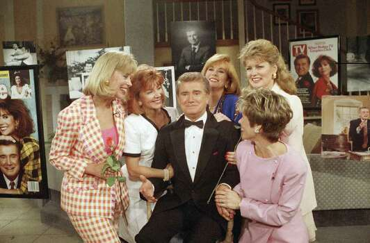 Talk-show host Regis Philbin during live broadcast of ABC?s ?Live With Regis and Kathy Lee,? a tribute to Regis 30 years on the air on Friday, May 15, 1992 in New York  During the special one-hour segment there were taped cameos including David Letterman Johnny Carson and Perry Cuomo as well as guest appearances from past co-hosts Mary Hart, Sarah Purcell and others. (AP Photo/Steve Freeman) Photo: Steve Freeman, STR