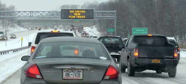 Traffic moves slowly Tuesday along I-90 near Rensselaer.  (Paul Buckowski / Times Union) Photo: Paul Buckowski / 10011776A