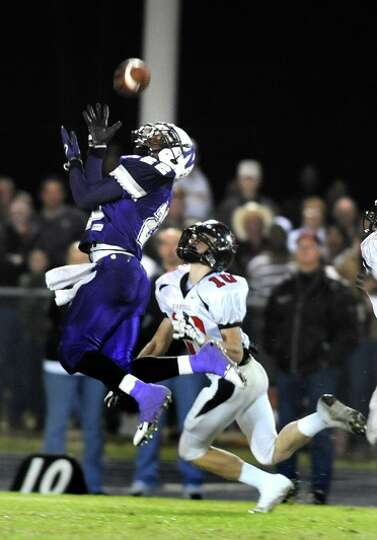 Newton's Stephen Alfred catches a long pass to put the eagles with in short distance of a touch down