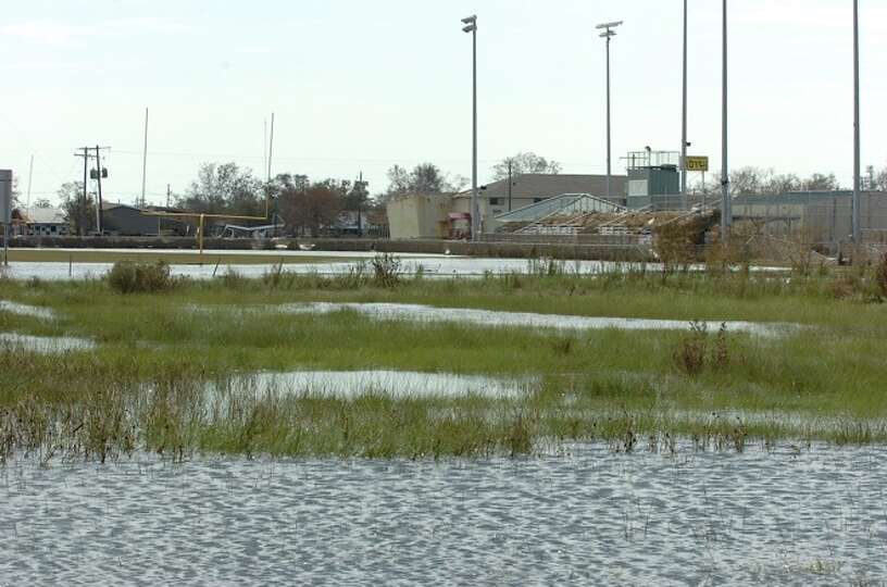 The Sabine Pass football stadium recieved severe damage from Hurricane Ike. Guiseppe Barranco/