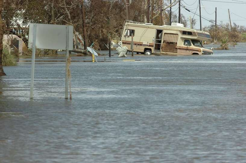 A recreational vehicle is flooded out in Sabine Pass. Monday, September 15, 2008. Guiseppe Barranco/