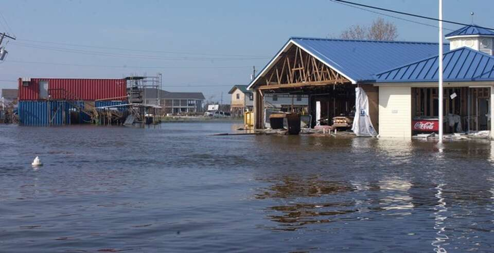 A grocery story in Sabine Pass is still surrounded by high water Wednesday morning. Dave Ryan/