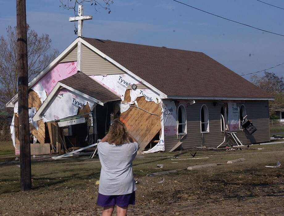 The rebuilt Catholic church in Sabine Pass had extensive damage.  Dave Ryan/ Photo: THE ENTERPRISE