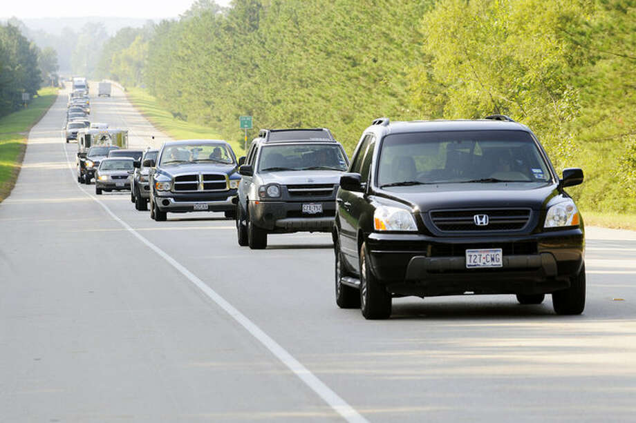 Traffic slows outside Woodville on US 69 North during the morning evacuation from Hurricane Gustav  on Sunday. Valentino Mauricio/ Photo: THE ENTERPRISE