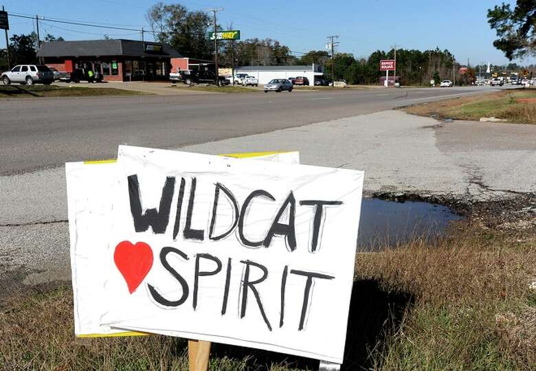 Support signs line Highway 96 through Kirbyville.