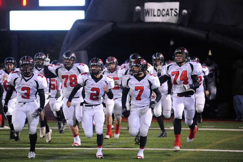 The Kirbyville Wildcats take the field against the Rice Consolidated Raiders at Turner Field in Humb