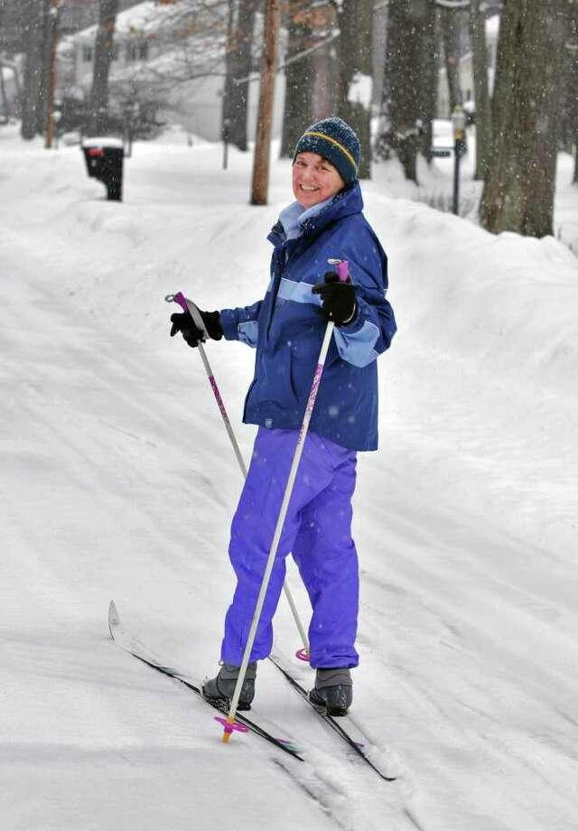 Barbara Roach skis through her Clifton Park neighborhood Tuesday morning.  (John Carl D'Annibale / Times Union) Photo: John Carl D'Annibale / 10011776A