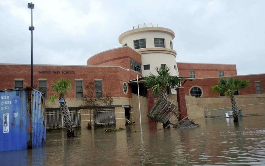 Sabine Pass  High  School is  flooded in   Sabine Pass,  Sunday. Tammy McKinley/ Photo: THE ENTERPRISE