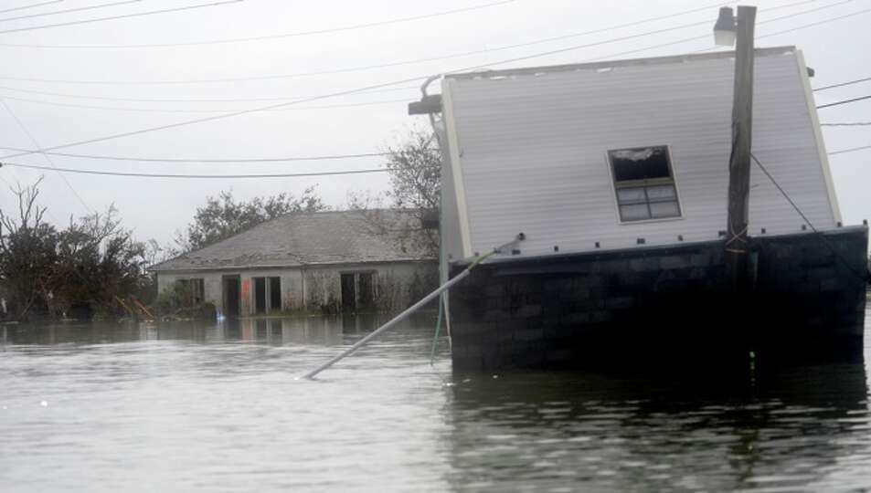 Sabine Pass has heavy damage due to wind and flooding. Tammy McKinley/