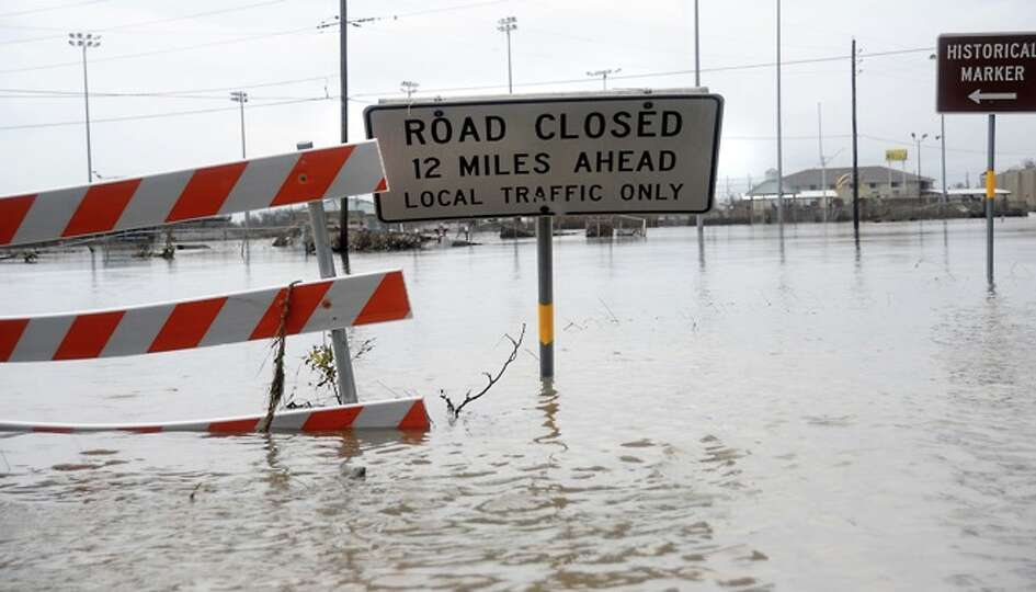 The  streets are flooded in  Sabine Pass, Sunday. Tammy McKinley/