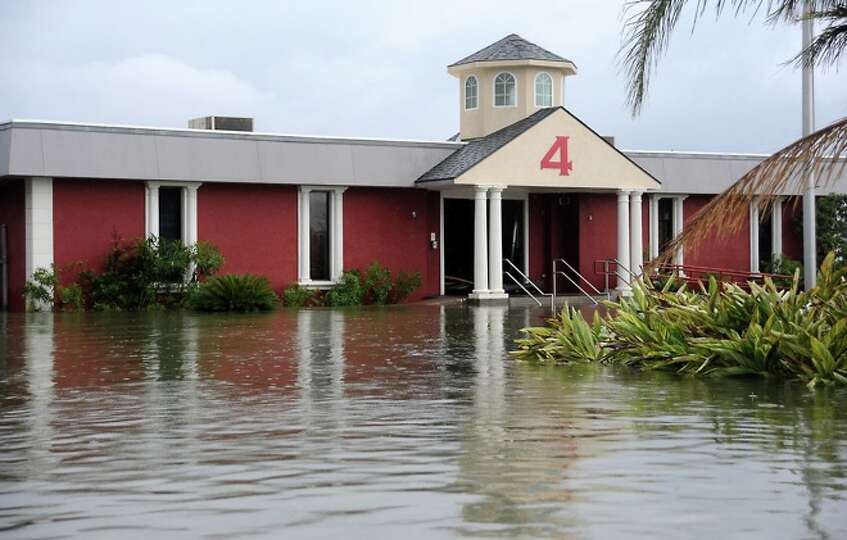 The Fire Department building is  flooded in   Sabine Pass,. Sunday. Tammy McKinley/