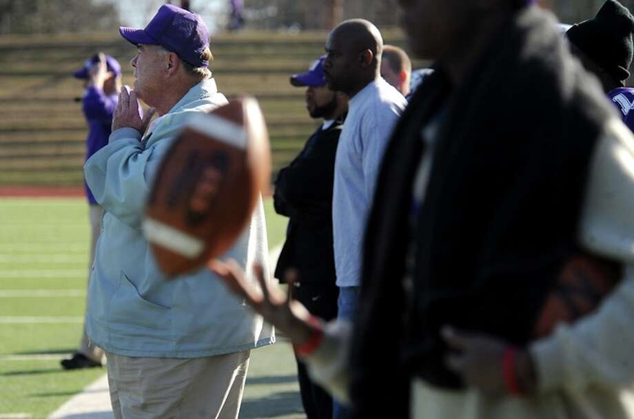 Newton's Athletic Director, Curtis Barbay watches from the sidelines as Newton plays against Dangerfield at the Homer Bryce Stadium at Stephen F. Austin University in Nacogdoches, Saturday. Photo: TAMMY MCKINLEY