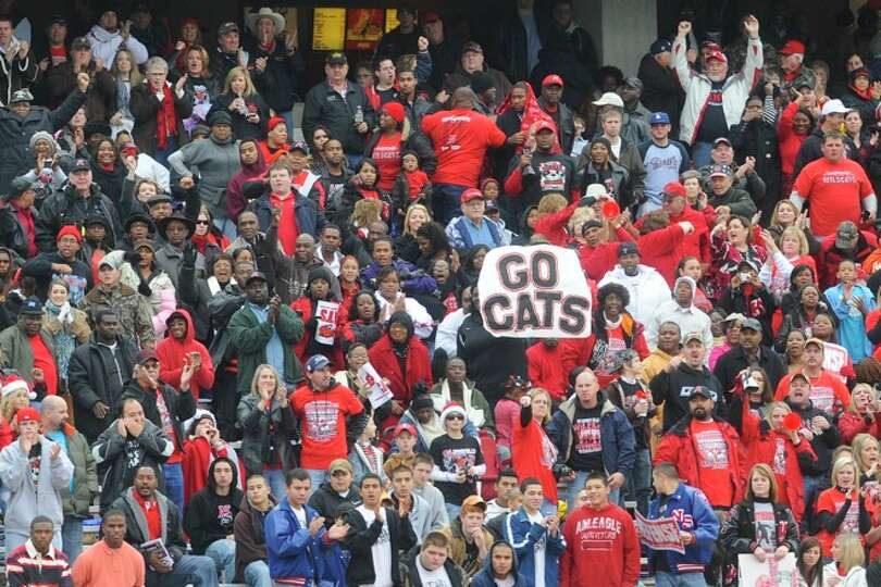 Kirbyville fans cheer the Wildcats on during the first half at Bobcat Stadium during the Class 2A Di