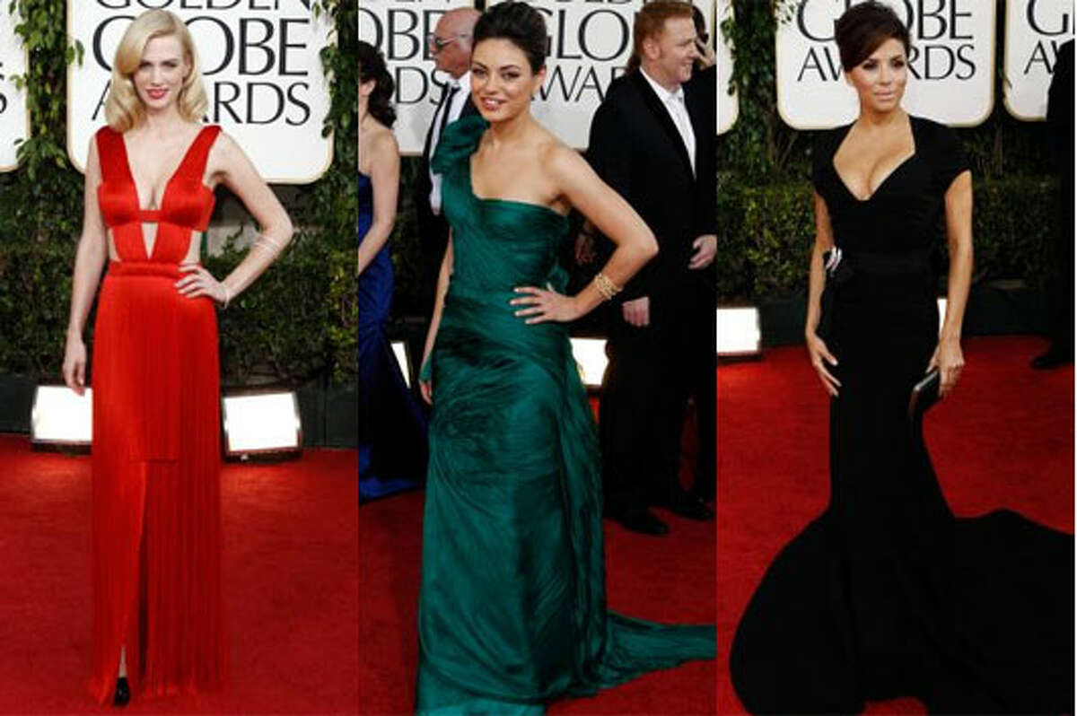 (From left) January Jones, Mila Kunis and Eva Longoria were some the best dressed on the Golden Globe's red carpet.