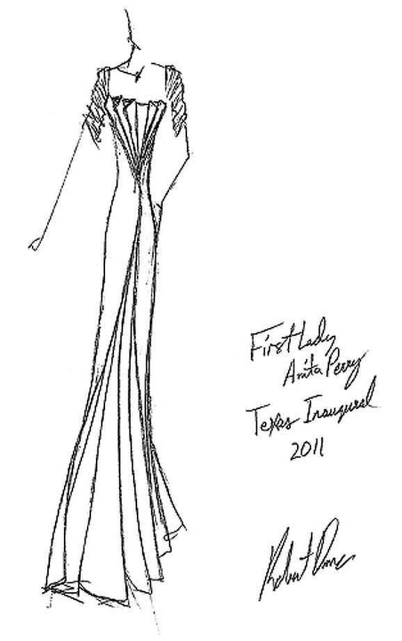 This sketch provided  by the the 2011 Texas Inaugural Committee shows the Robert Danes gown that First Lady Anita Perry will wear to the Evening Inaugural Celebration.