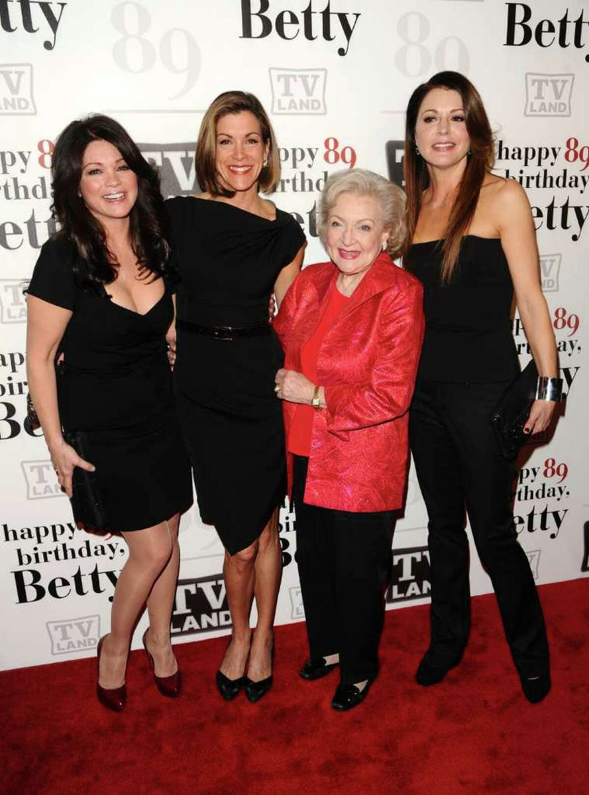 From left, actors Valerie Bertinelli, Wendie Malick, Betty White and Jane Leeves attend White's 89th Birthday celebration hosted by TV Land, in New York, on Tuesday, Jan. 18, 2011.