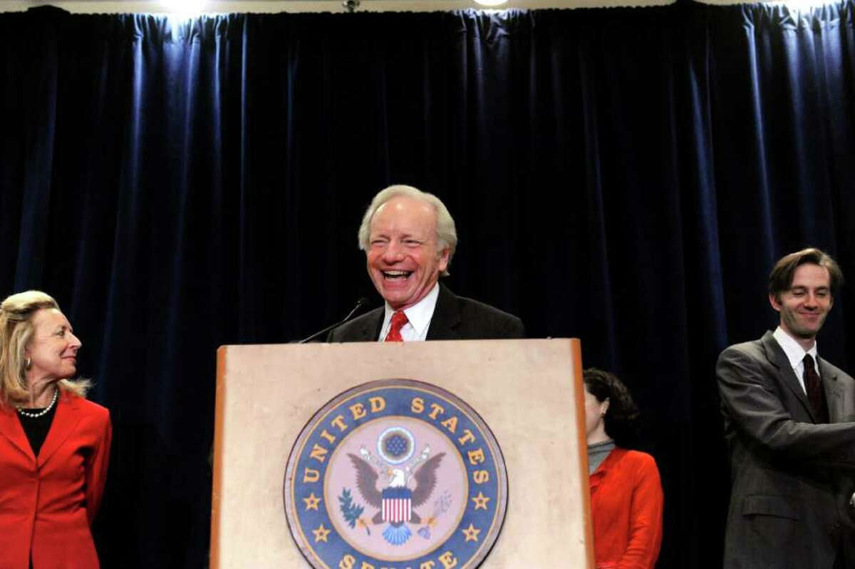 Connecticut Senator Joseph Lieberman announces his decision not to seek another term at the Stamford Marriott Wednesday afternoon, January 19, 2011.