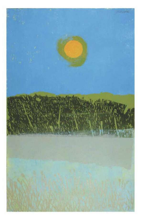 The work of Norwalk printmaker Antonio Frasconi, including this image of a sun high over a Norwalk salt marsh, will be on display at the Center for Contemporary Printmaking through Jan. 31. Other images in the show include prints of his late wife Leona Pierce. Photo: Contributed Photo / Stamford Advocate Contributed