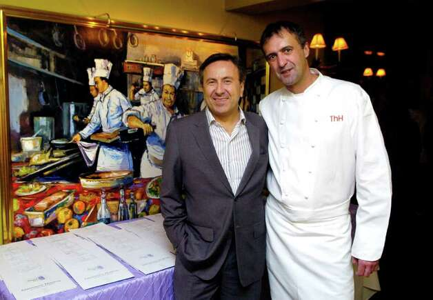Daniel Boulud, a top chef with restaurants around the world, is this year's honoree for Greenwich Hospital's Great Chefs event, which will take place on March 4, 2011. Boulud poses with Thomas Henkelmann at Restaurant Thomas Henkelmann in Greenwich, Conn. on Thursday January 20, 2011. Photo: Dru Nadler / Stamford Advocate Freelance