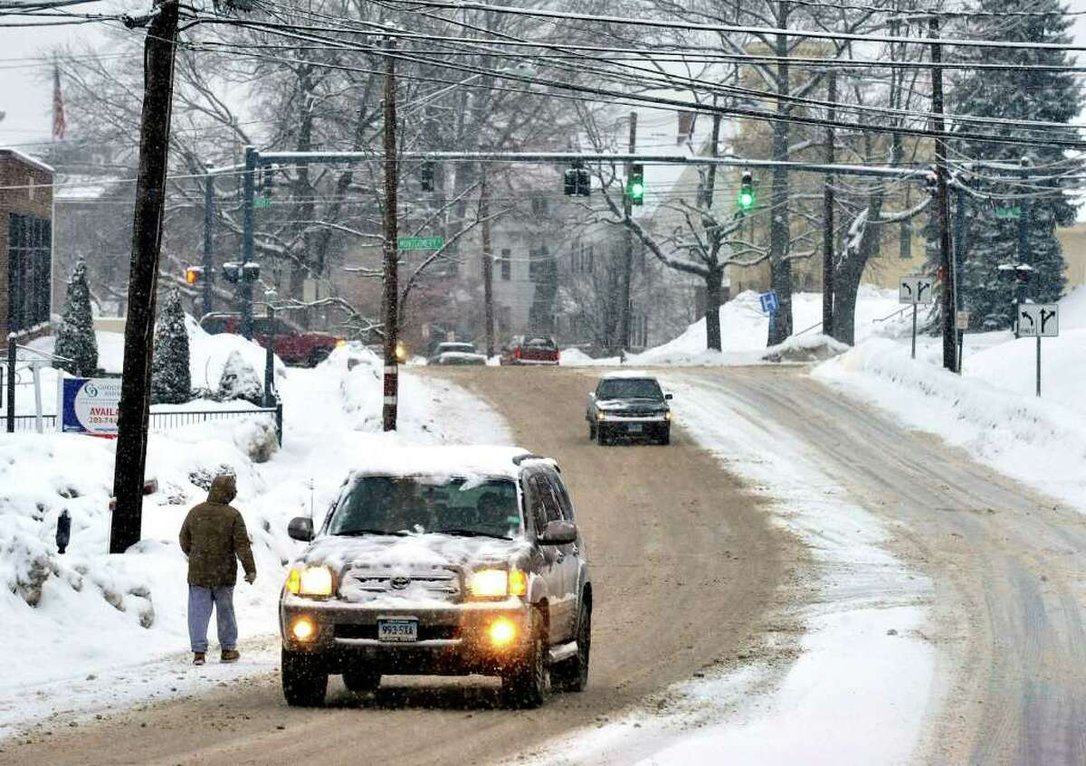 The morning traffic is light on the usually busy West Street in Danbury, Friday, Jan. 21, 2010.
