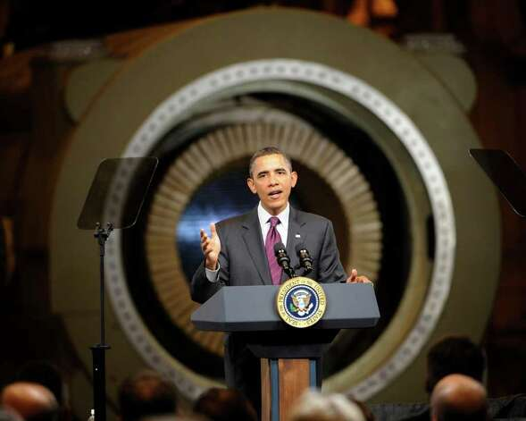 President Barack Obama addresses a gathering of workers and dignitaries at the GE plant in Schenectady January 21, 2011.   (Skip Dickstein / Times Union) Photo: SKIP DICKSTEIN / 00011832A