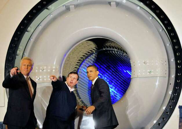 "President Barack Obama takes a tour of  the facilities with GE CEO Jeff Immelt before speaking to a crowd gathered at General Electric in Schenectady Jan. 21, 2011. Obama said he wants to open up Chinese markets to U.S. companies to have ""two-way trade, not just one-way trade."" ( Michael P. Farrell/Times Union ) Photo: Michael P. Farrell"