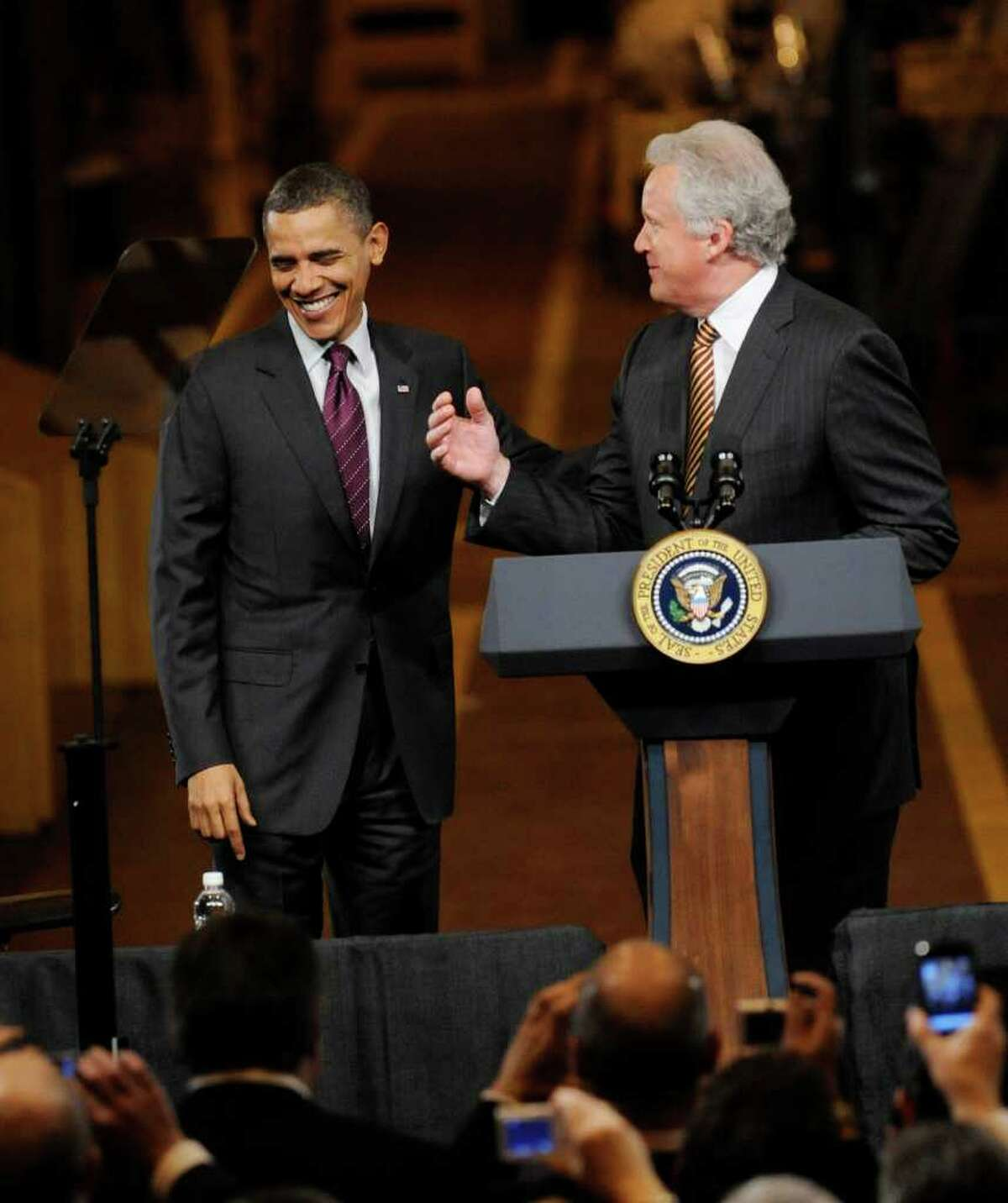 President Barak Obama enjoys a light moment with GE CEO Jeffrey Immelt before he spoke to a gathering of workers and dignitaries at the GE plant in Schenectady January 21, 2011. (Skip Dickstein / Times Union)