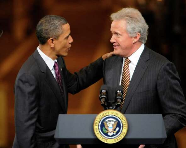 President Barak Obama chides GE CEO Jeffrey Immelt(r) before a gathering of workers and dignitaries at the GE plant in Schenectady January 21, 2011.   (Skip Dickstein / Times Union) Photo: SKIP DICKSTEIN / 00011832A