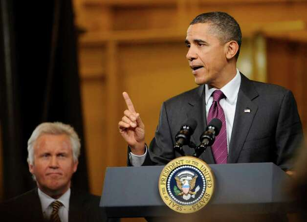 President Barak Obama addresses a gathering of workers and dignitaries at the GE plant in Schenectady January 21, 2011.   (Skip Dickstein / Times Union) Photo: SKIP DICKSTEIN / 00011832A