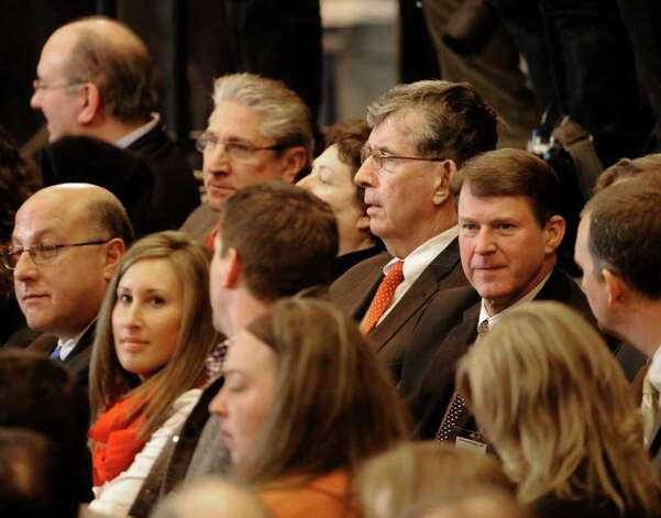 Assemblyman Jim Tedisco, Senator Neil Breslin and former Congressman Mike McNulty are the in audience for President Barak Obama's address at the GE plant in Schenectady January 21, 2011.   (Skip Dickstein / Times Union) Photo: SKIP DICKSTEIN / 00011832A