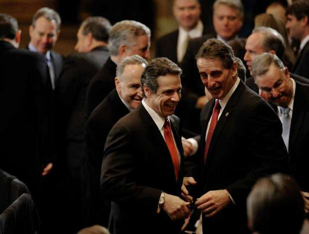 Governor Andrew Cuomo(c) with Lt. Governor Robert Duffy(r) is followed by Senator Chuck Schumer to hear President Obama's speech at the GE plant in Schenectady January 21, 2011.   (Skip Dickstein / Times Union) Photo: SKIP DICKSTEIN / 00011832A