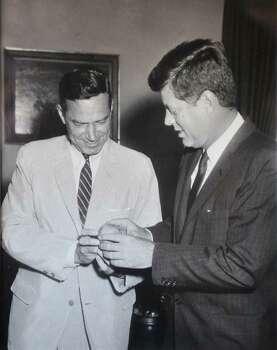 Undated photo of Schenectady Mayor Brian U. Stratton's father, U.S. Congressman Sam Stratton, left, with President John F. Kennedy.  (Photo courtesy of Brian Stratton)