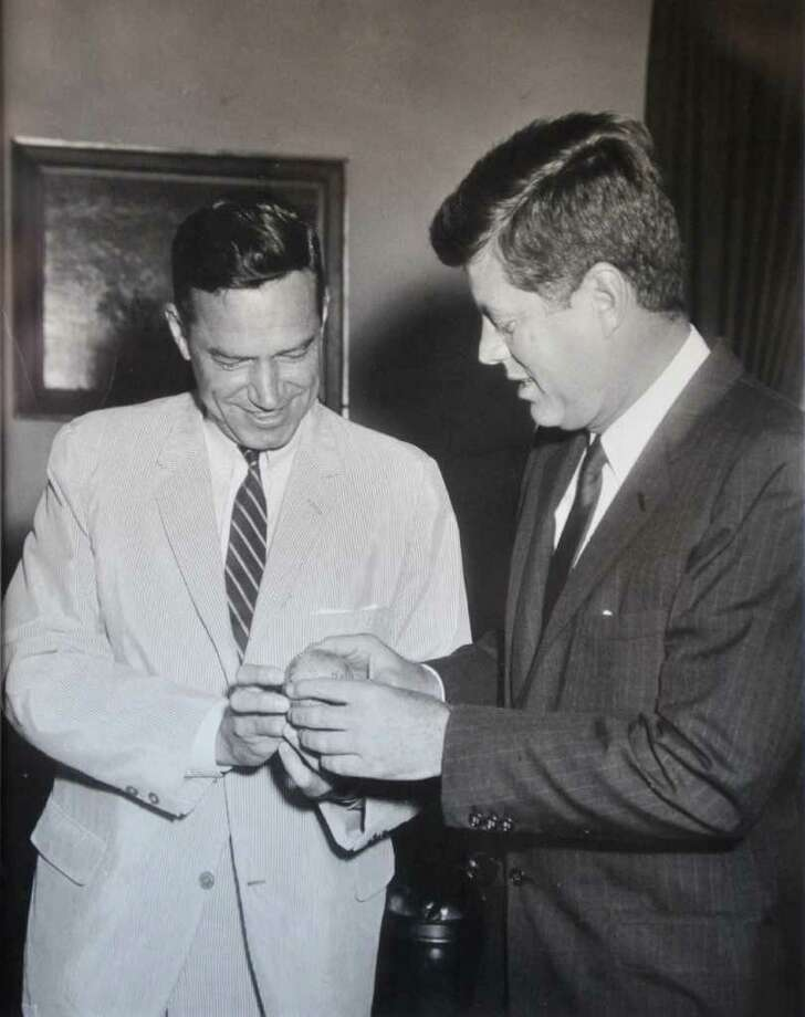 Undated photo of Schenectady Mayor Brian U. Stratton's father, U.S. Congressman Sam Stratton, left, with President John F. Kennedy.  (Photo courtesy of Brian Stratton)